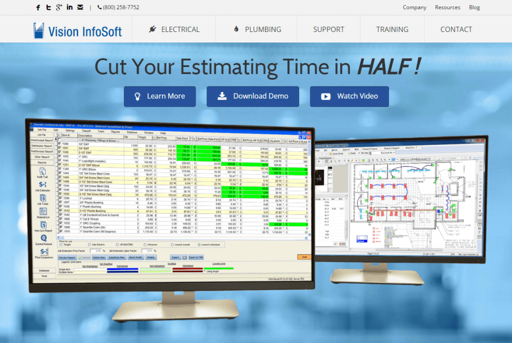 Electrical estimating software website by Vision InfoSoft