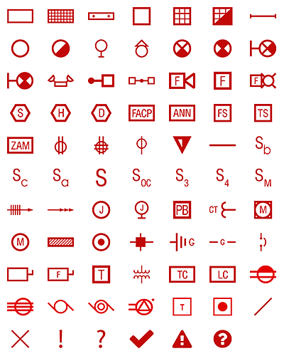 Red electrical symbols will stand out against existing symbols.