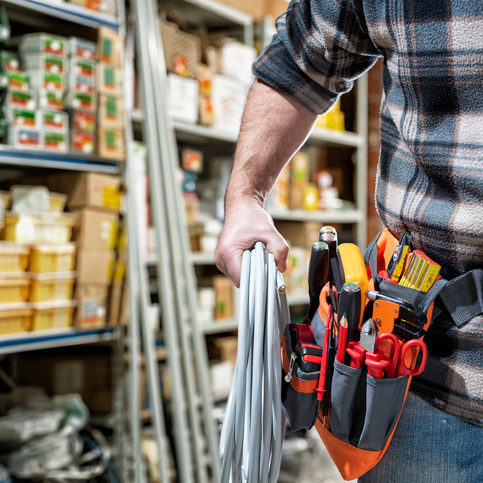 Electrical contractor with electrical materials